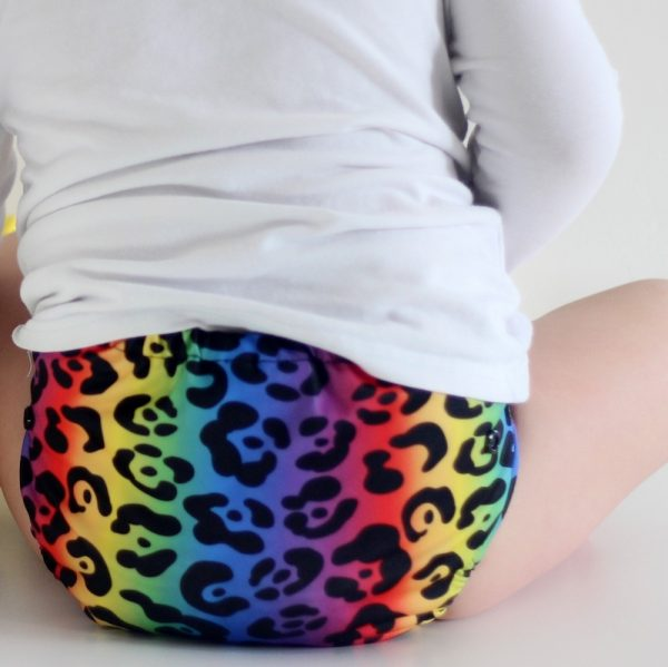 Rainbow Leopard cloth nappy